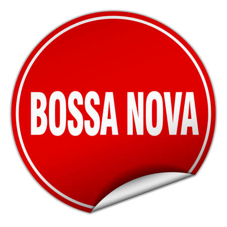 nova: bossa nova round red sticker isolated on white