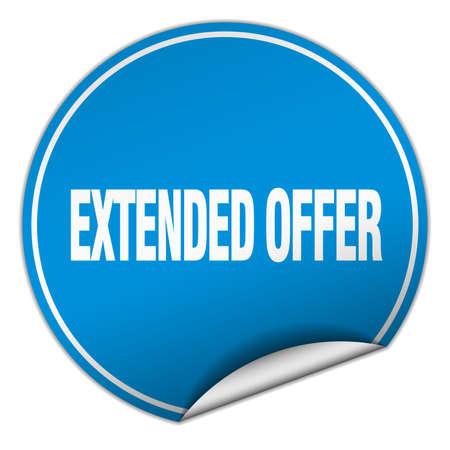 estendido: extended offer round blue sticker isolated on white