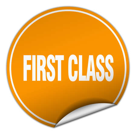 first class: first class round orange sticker isolated on white