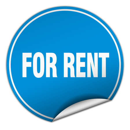 for rent: for rent round blue sticker isolated on white Illustration