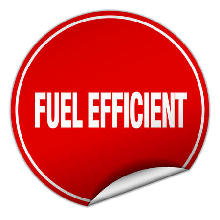 efficient: fuel efficient round red sticker isolated on white Illustration