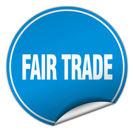 fair trade: fair trade round blue sticker isolated on white