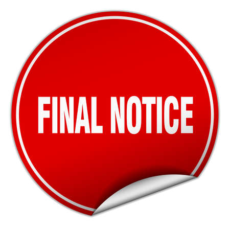 final: final notice round red sticker isolated on white Illustration