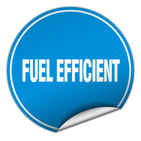 verimli: fuel efficient round blue sticker isolated on white