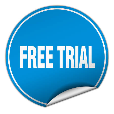 trials: free trial round blue sticker isolated on white