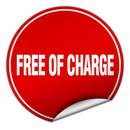 charge: free of charge round red sticker isolated on white Illustration