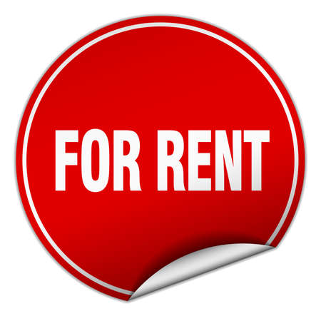 for rent: for rent round red sticker isolated on white