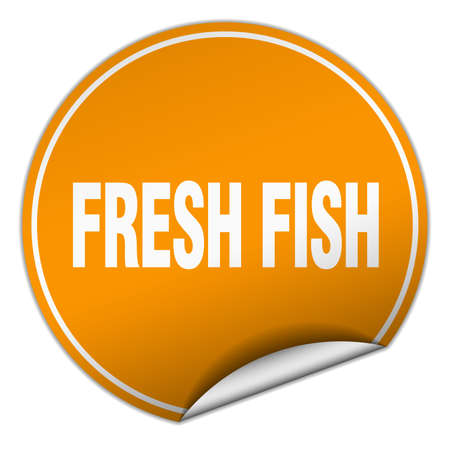 fresh fish: fresh fish round orange sticker isolated on white
