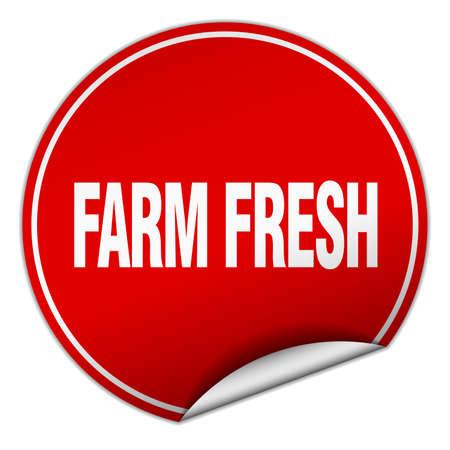 farm fresh: farm fresh round red sticker isolated on white