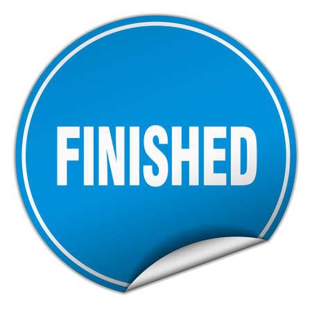 finished: finished round blue sticker isolated on white