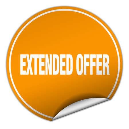 estendido: extended offer round orange sticker isolated on white