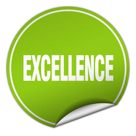 excellence: excellence round green sticker isolated on white