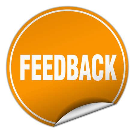 feedback sticker: feedback round orange sticker isolated on white
