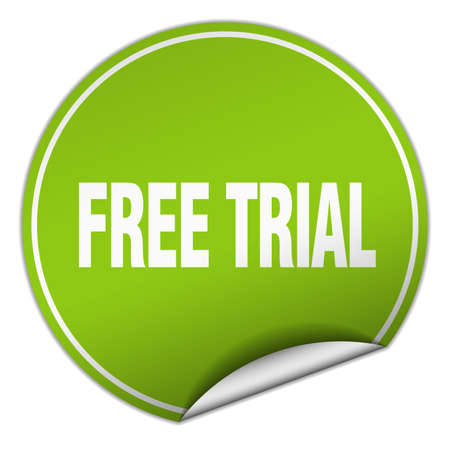 trials: free trial round green sticker isolated on white