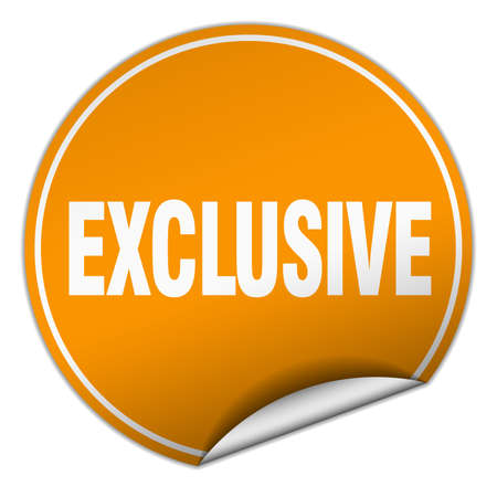 exclusive: exclusive round orange sticker isolated on white