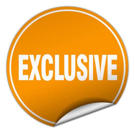 exclusive: exclusive round orange sticker isolated on white