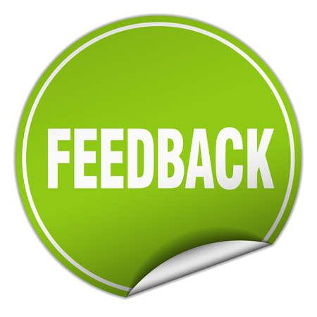 feedback label: feedback round green sticker isolated on white Illustration