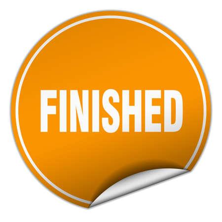 finished: finished round orange sticker isolated on white