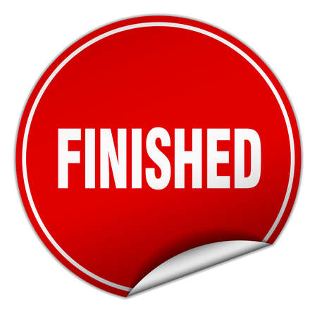 finished: finished round red sticker isolated on white