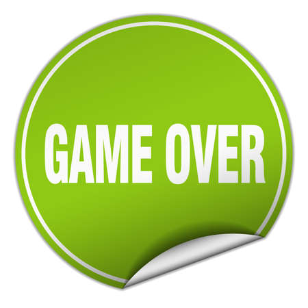 game over round green sticker isolated on white