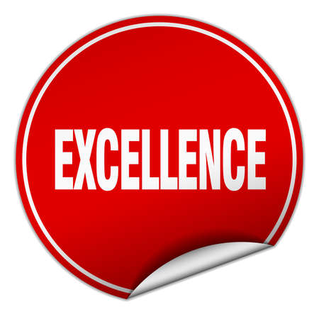 excellence: excellence round red sticker isolated on white