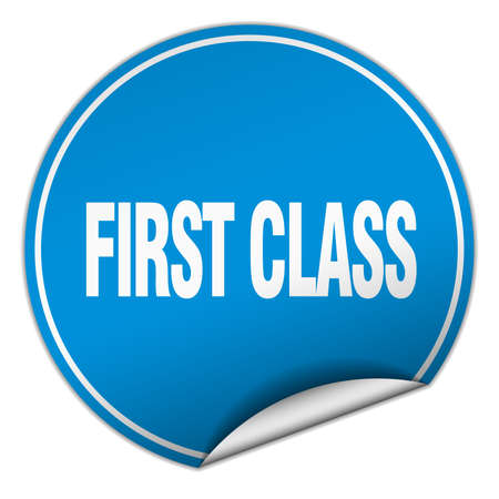 first in class: first class round blue sticker isolated on white Illustration