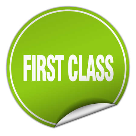 first in class: first class round green sticker isolated on white