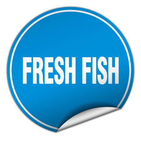 fresh fish: fresh fish round blue sticker isolated on white