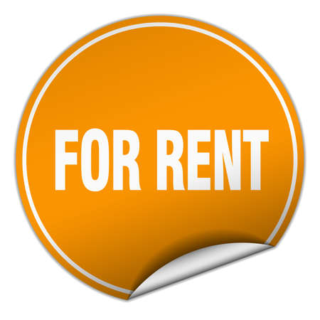 for rent: for rent round orange sticker isolated on white