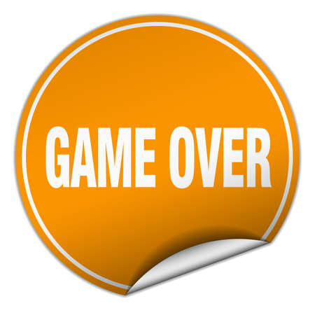 over: game over round orange sticker isolated on white Illustration