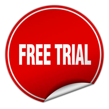 free trial: free trial round red sticker isolated on white