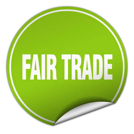 fair trade: fair trade round green sticker isolated on white Illustration