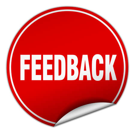 feedback sticker: feedback round red sticker isolated on white Illustration