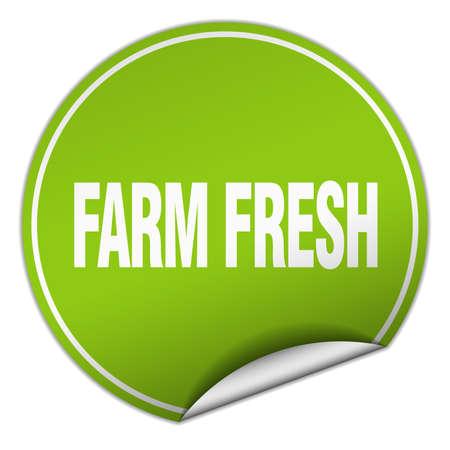 farm fresh: farm fresh round green sticker isolated on white