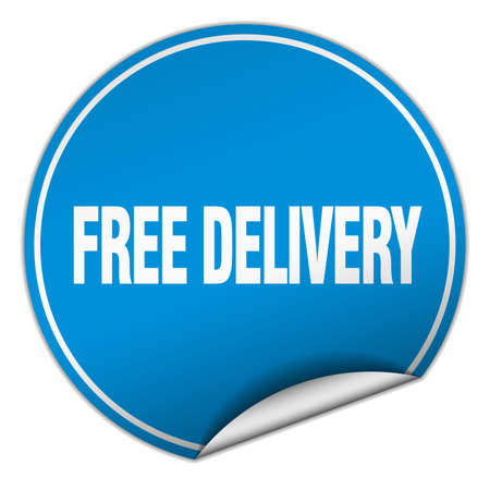 free delivery: free delivery round blue sticker isolated on white Illustration