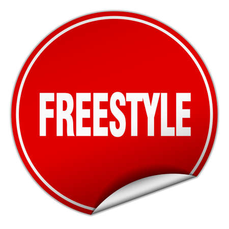 freestyle: freestyle round red sticker isolated on white