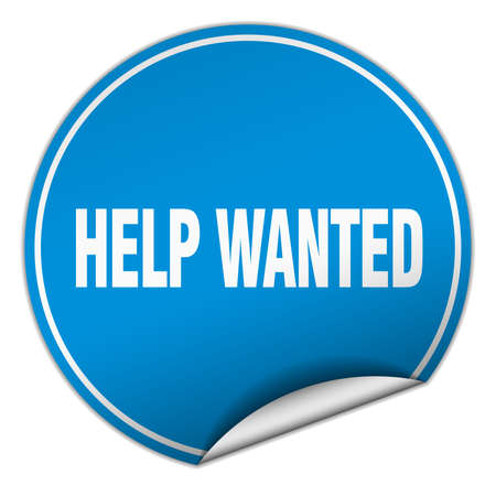 help wanted sign: help wanted round blue sticker isolated on white