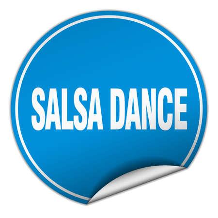 salsa dance: salsa dance round blue sticker isolated on white