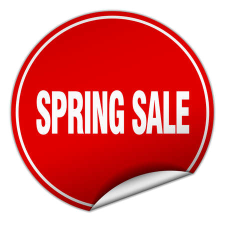spring sale: spring sale round red sticker isolated on white