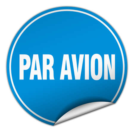 avion: par avion round blue sticker isolated on white Illustration
