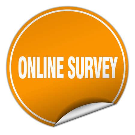 online survey: online survey round orange sticker isolated on white Illustration