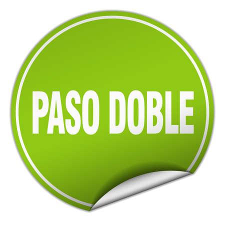paso doble: paso doble round green sticker isolated on white Illustration