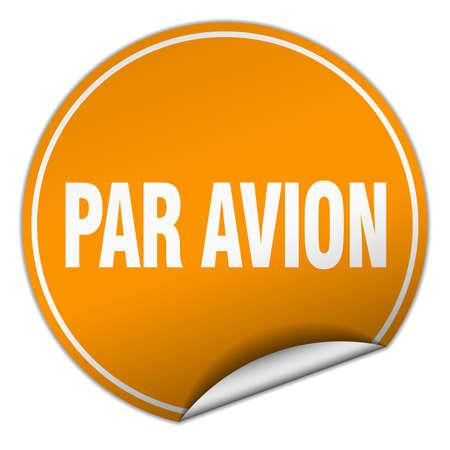 par avion: par avion round orange sticker isolated on white