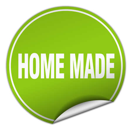 home made: home made round green sticker isolated on white Illustration