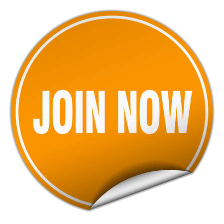 join now: join now round orange sticker isolated on white