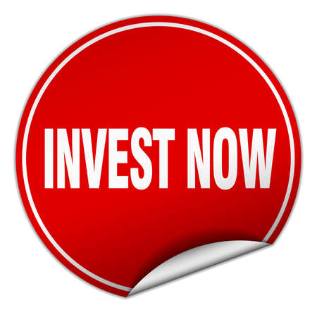 invest: invest now round red sticker isolated on white