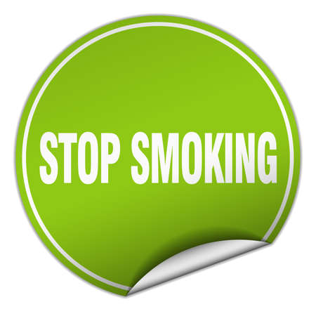 stop smoking: stop smoking round green sticker isolated on white
