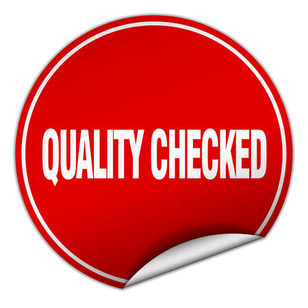 checked: quality checked round red sticker isolated on white