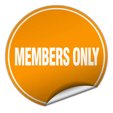 members only: members only round orange sticker isolated on white