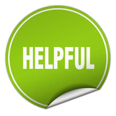 helpful: helpful round green sticker isolated on white Illustration